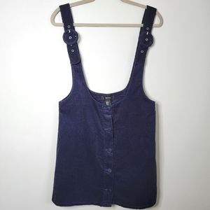 Large Navy Blue High Waisted Corduroy Overall Skirt